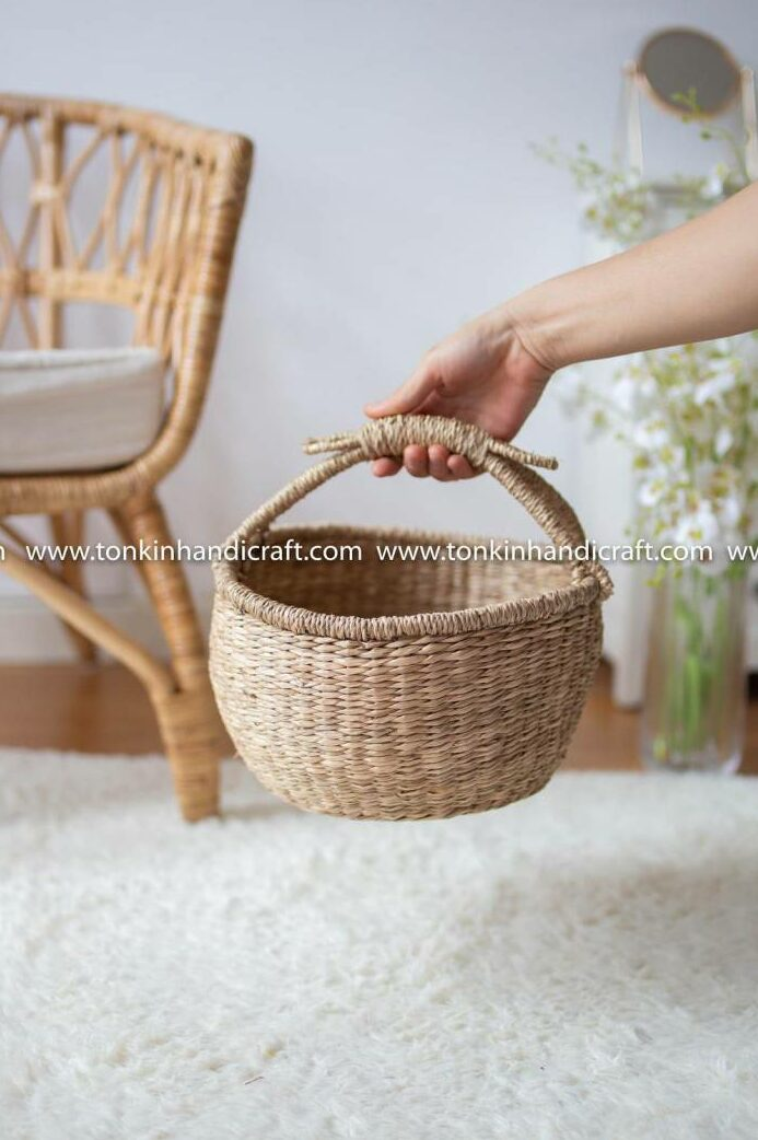 BAE Seagrass natural weave Baskets with handle