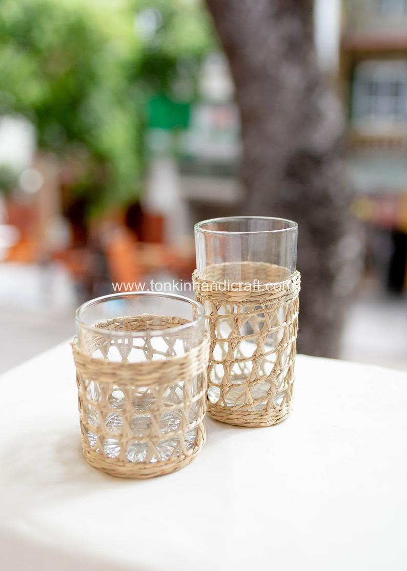 tonkinhandicraft-Set-2-Seagrass-Highball-Glasses-Woven-Seagrass-Wrapped-Glassware