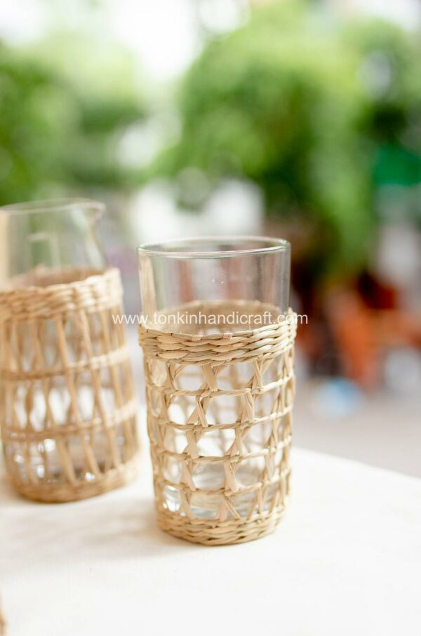 tonkinhandicraft Set 2 Seagrass Highball Glasses, Woven Seagrass Wrapped Glassware (4)